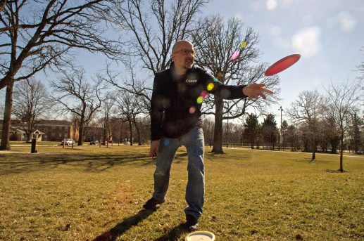 Dirk Fletcher, of Brookfield, plays disc golf with his family on Sunday, March 4 in Kiwanis Park in Brookfield. | Alexa Rogals/Staff Photographer