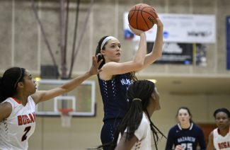 Nazareth center Alyssa Geary, a Providence College recruit, dominated the paint this season with her scoring, rebounding and shot blocking. (Alexa Rogals/Staff Photographer)