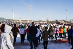 Students protest gun violence at the Riverside-Brookfield High School walkout on March 14. (Photo by Diana Meeks | Contributor)