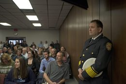 Incoming fire chief Mark Duffek stands as the board president speaks on April 23, during a Village Board meeting at Brookfield Village Hall. | Alexa Rogals/Staff Photographer