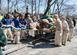 Layla, a 7-year-old eastern black rhinoceros is wheeled into Brookfield Zoo's Pachyderm House, where she received, what is believed to be, the first portable CT scan ever performed on this species. The scan provided diagnostic results that will help determine the best course of action in treating an obstruction in Layla's nasal passageway. (Photo courtesy of Chicago Zoological Society)