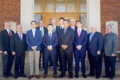 Riverside Golf Club caddies Maximiliano Alvarez, Massimo Flight, Erik Robertson, Jack Xin and David Reese gathered with Western Golf Association directors, Evans Scholars alumni and other program supporters after being awarded Evans Scholarships. They will begin college as Evans Scholars in the fall of 2018. | PROVIDED