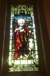 The stained-glass window in memory of Hedley Cooper at St. Paul's Church in Riverside, where his father, Robert, was rector.   Bob Uphues/Editor