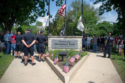 Attendees gather around the park and listen to speakers on May 28, during a Memorial Day Veterans ceremony at Veterans Park in Brookfield. | Alexa Rogals/Staff Photographer