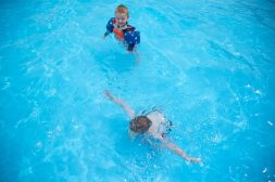 Brothers Brody Sherman, 2, top, and Jake Sherman, 4, both of Riverside, swim in the pool on June 14, at the Riverside Swim Club on Bloomingbank Road in Riverside. | Alexa Rogals/Staff Photographer