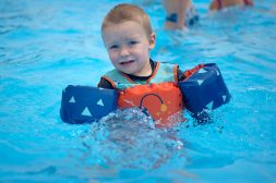 Brody Sherman, 2, of Riverside - water wings and life vest fully deployed -- has no problem staying afloat while getting some relief from the 90-degree temperatures on June 14 at the Riverside Swim Club. | Alexa Rogals/Staff Photographer