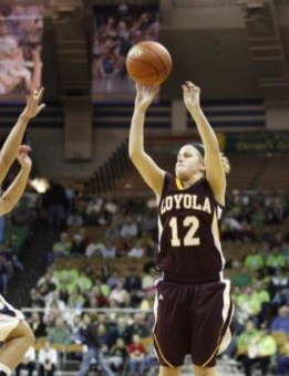 Maggie McCloskey-Bax is the all-time leader in three-point field goals made at both Loyola University Chicago and in the Horizon League with 325. (Courtesy Tom McCloskey)