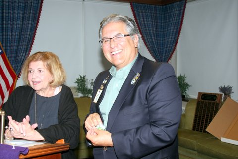 Former Lions District 1-A Governor Ralph Zarada with JoAnne Kosey following her induction as president of the Riverside Township Lions Club for a second term. | PROVIDED
