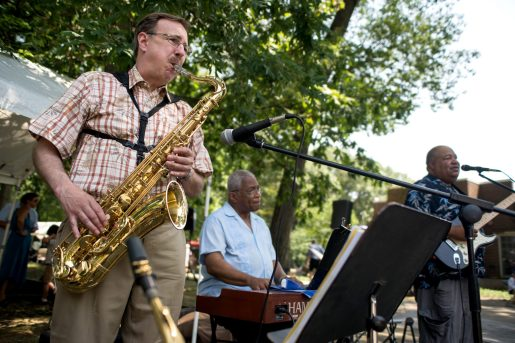 The Savannah Band performs for attendees on Aug. 4, during the 102nd annual picnic at the Caledonia Senior Living and Memory Care in North Riverside. | Alexa Rogals/Staff Photographer