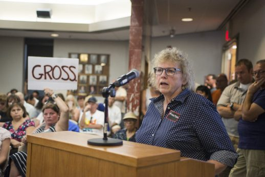 Nancy Heffernan asks what steps were made into hiring the new interim fire chief on Aug. 13, during a North Riverside Village board meeting at the Village Commons on Des Plaines Avenue. | Alexa Rogals/Staff Photographer