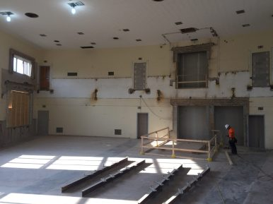 Demolition inside the old S.E. Gross Middle School auditorium is complete. The space will be divided into two floors, with a new STEM lab occupying the third floor and a new band room, conference room and art room on the second floor. (Bob Uphues | Staff)