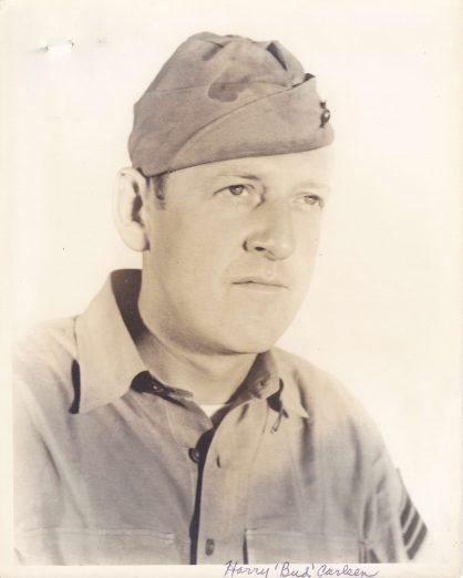 Bud Carlsen wearing his sergeant's stripes in an undated portrait.