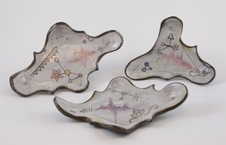 Pottery sculptural objects by Brookfield artist Shannon Roman Gosciejew.