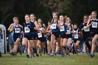 RBHS runner Tara Janney (#161) leads a pack of runners at the RBHS Regional. (Photo by John Keen)