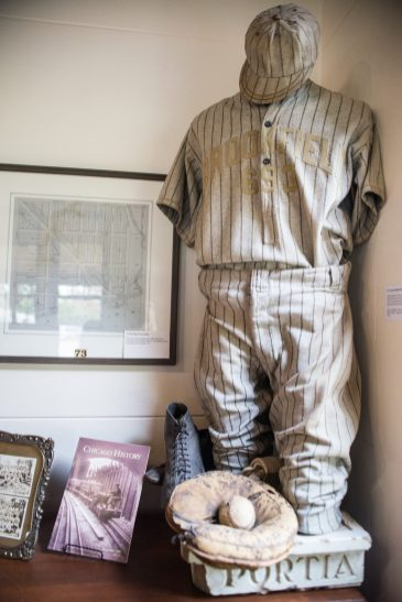 A Brookfield baseball uniform from the early 1900's is displayed on Oct. 26, at the Grossdale Station Museum in Brookfield. | ALEXA ROGALS/Staff Photographer