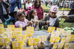 Children pick up their free taffy apples during the annual Monsters on Mainstreet trick-or-treating event on Oct. 27.   ALEXA ROGALS/Staff Photographer