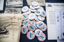Historical pins and post cards are displayed for sale on Nov. 3, during the Founder's Day event at Grossdale Station in Brookfield. | ALEXA ROGALS/Staff Photographer