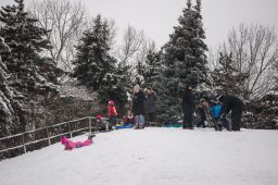 Adults and children hang out on the top of the hill on Nov. 26, at the North Riverside Village Commons sledding hill on Des Plaines Avenue in North Riverside. | Alexa Rogals/Staff Photographer