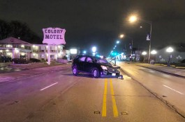 This Chevy Equinox was eastbound on Ogden Avenue near Madison Avenue in Brookfield when it reportedly veered into oncoming traffic, striking a westbound semi. (Photo courtesy of the Brookfield Police Department)