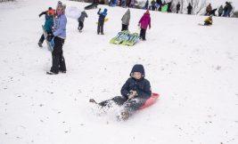 Kids enjoy the heavy snowfall by going sledding on Jan. 19, 2019, at Swan Pond in Riverside. | ALEXA ROGALS/Staff Photographer