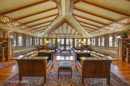 """Dean and Ella Mae Eastman lovingly restored the """"public wing"""" of the Coonley Estate over a period of four years, resurrecting Frank Lloyd Wright's masterpiece of Prairie School architecture inside and out. (Courtesy of VHT STUDIOS)"""
