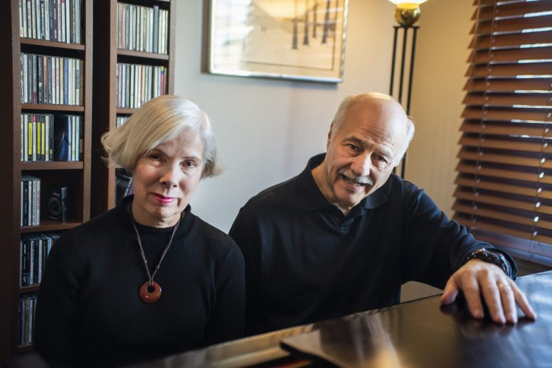Jazz musicians Terry Sullivan, left, of Forest Park, and Bobby Schiff, of Riverside, sit for a photo at the piano on Jan. 21, during a rehearsal at Schiff's home in Riverside. | ALEXA ROGALS/Staff Photographer(Alexa Rogals/Staff Photographer)
