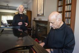 Jazz musicians Terry Sullivan, left, of Forest Park, and Bobby Schiff, of Riverside, sing and play piano together on Jan. 21, during a rehearsal at Schiff's home in Riverside. | ALEXA ROGALS/Staff Photographer