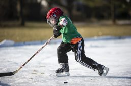 A child practices skating on Feb. 9, at the Big Ball Park ice rink in Riverside. | ALEXA ROGALS/Staff Photographer