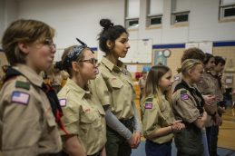 Scouts from the Lunar Patrol line up on Feb. 27, during an induction ceremony for the Boy Scouts of America Troop 90GT at Brook Park Elementary School in La Grange Park. | ALEXA ROGALS/Staff Photographer