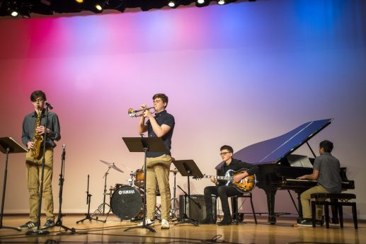 The RBHS Jazz Band performs songs in the auditorium on, March 9, during the annual RBTV Telethon at Riverside Brookfield High School. | ALEXA ROGALS/Staff Photographer