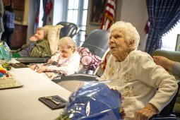 Three of the women - (from left) Frances Phia, 103; Lillian Herverdejs, 106; and Gladys Strunfield, 100 -- were able to make it to the celebration. Also honored was Caledonia resident Cordelia Twitty, 100. | Alexa Rogals/Staff Photographer