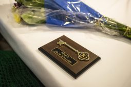One of the plaques with a key is seen on March 21, during a birthday celebration for residents that turned 100 and over at Heritage Hall at Caledonia Senior Living and Memory Care in North Riverside. | Alexa Rogals/Staff Photographer