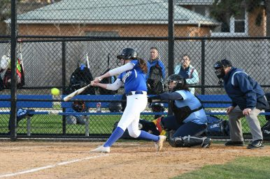 RBHS catcher Emily Noel is hitting .500 with 8 home runs and 25 RBIs. The Bulldogs (12-1) feature a prolific offense that has scored 20 runs in one game on three occasions. (Photo by Toan Ngo)