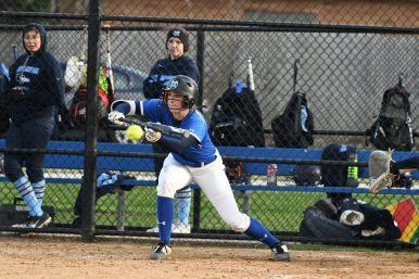 RBHS freshman Hannah Organ lays down a bunt for the Bulldogs. (Photo by Toan Ngo)