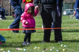 Kids line up at the starting line during the Riverside Parks and Rec's annual Easter Egg Hunt at Big Ball Park on April 13. | Alexa Rogals/Staff Photographer