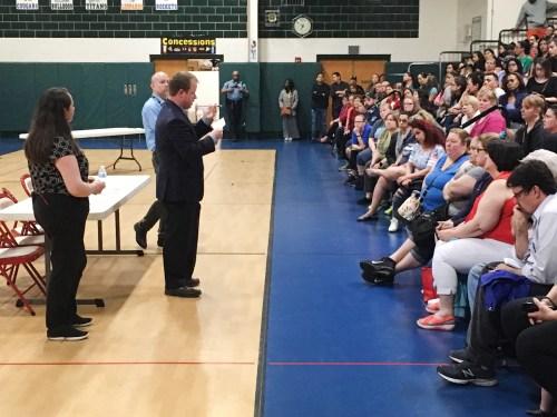 Don Jones, GWMS principal, answers parent questions at a crowded Monday forum. | Robert Skolnik/Contributor