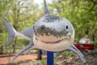 This shark made of Legos is one of 40 life-size figures on display at Brookfield Zoo's Brick Safari exhibit this summer. | Alexa Rogals/Staff Photographer