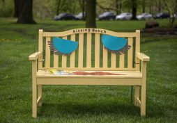 One of the painted benches apart of RAW is seen on May 9, at Guthrie Park in Riverside. | Alexa Rogals/Staff Photographer