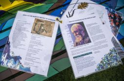 Artwork is seen in a booklet attached to the RAW benches on May 9, at Guthrie Park in Riverside. | Alexa Rogals/Staff Photographer
