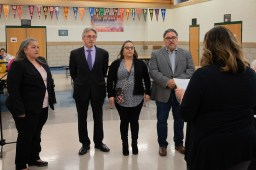 Winifred Rodriguez, Vito Campanile, Olivia Quintero and Jorge Torres are sworn in on April 30 as Lyons Elementary School District 103 board members. Campaign funds controlled by allies of Lyons Mayor Chris Getty spent nearly 0,000 to elect the four to the board.