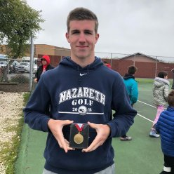 Nazareth tennis player Michael Rooney won five of six matches to place third at the Class 1A state finals. (Courtesy Nazareth Academy)