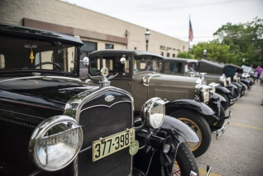 Ford Model T's are parked along a parking lot on Thursday, June 20, at the first night of the Cruise Nights event in downtown Riverside, Ill. | ALEXA ROGALS/Staff Photographer