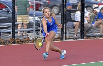 RBHS tennis player Kathe Pribyl Pierdinock stretches to hit a forehand. (File photo)