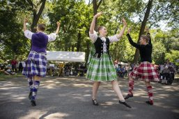 Thistle and Heather Highland Dancers perform on Saturday, Aug. 3, during the Chicago Scots' 103rd annual picnic at Caledonia Senior Living and Memory Care in North Riverside.(Alexa Rogals/Staff Photographer)