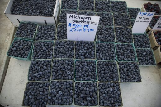 Fresh Michigan blueberries are seen for sale on Wednesday, Aug. 28, during the Riverside Farmers Market near the water tower in downtown Riverside. (ALEXA ROGALS/Staff Photographer)