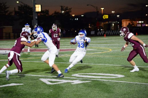 RBHS senior Luke Gentile finds an opening against Morton during the Bulldogs' 40-28 victory. Gentile finished with eight catches for 104 yards and scored two TDs. (Photo by Carol Dunning)
