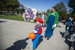 Children wearing costumes go trick-or-treating on Saturday, Oct. 12, during the Boo At The Zoo event at Brookfield Zoo.