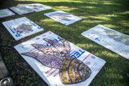 Mosaics for the mural are placed on the ground on Saturday, Oct. 19, at Hollywood Elementary School in Brookfield. (ALEX ROGALS/Staff Photographer)