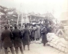 The stone was dedicated in an identical ceremony on Nov. 10, 1894 in the shadow of the old Riverside Refectory, which can be seen in the background. (Photo provided by Riverside Historical Museum)