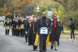 Freemasons from the Grand Lodge of Illinois parade to the Riverside Township Hall for the rededication of the building's cornerstone, marking the ceremony's 125th anniversary.(ALEX ROGALS/Staff Photographer)